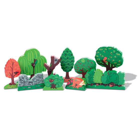 Ten different trees and hedges (38mm-130mm)