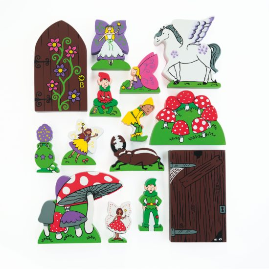 Fourteen Fairy Folk Wooden Characters (55 - 140mm)