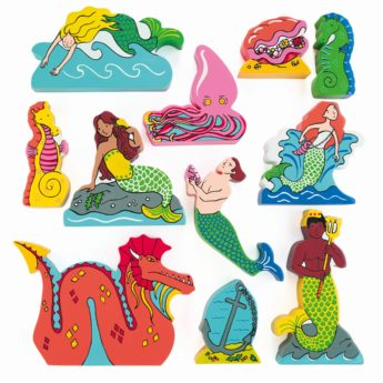 11 mermaid, mermen and sea creature wooden characters (40-110mm high)
