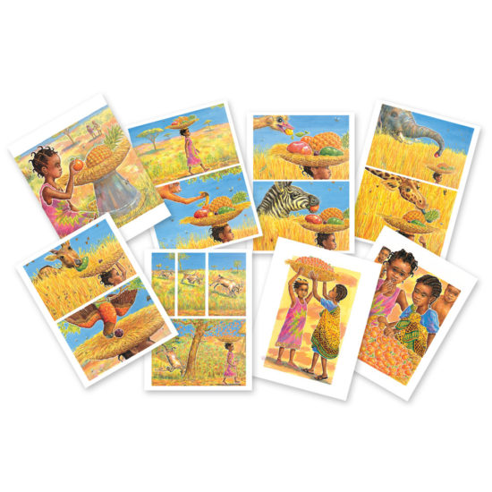 Large format sequencing story cards from popular picture book (275 x 210mm on durable plastic)