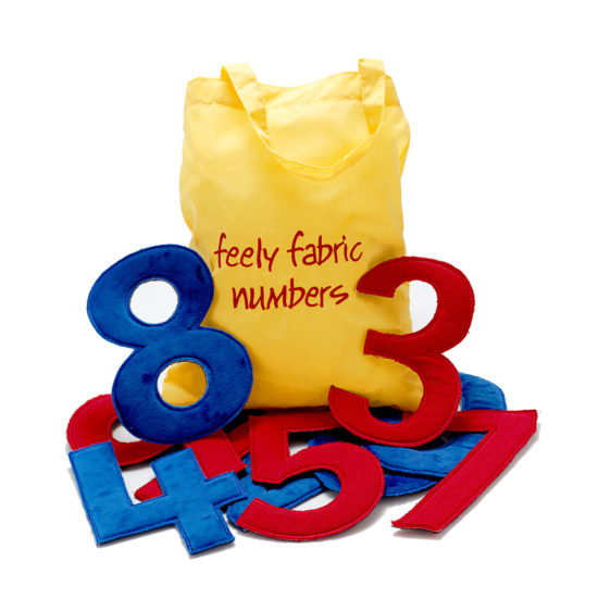 Two sets of different fabric numerals (0-9)