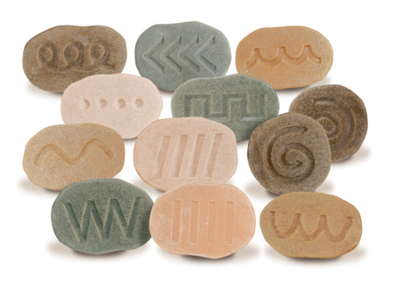 Twelve tactile patterned stones for mark making and pre-writing activities
