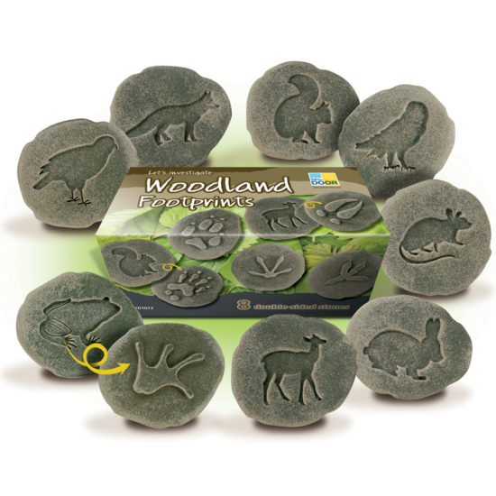 Eight double sided stones with footprint on one side animal on the other.  70-80 mm