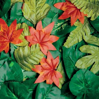 Coloured artificial leaves from a variety of trees in different seasons (100 in a pack)