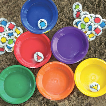 Set of six plastic sorting bowls (165mm in diameter)