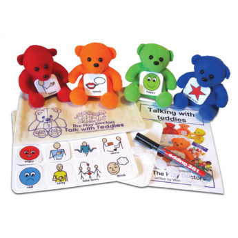 Talk With Teddies Early Years Communication Kit includes four teddies, symbols, boards and whiteboard pen