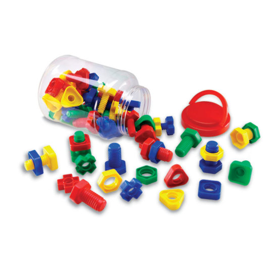 Sixty-four colourful nuts and bolts to develop children's fine motor skills