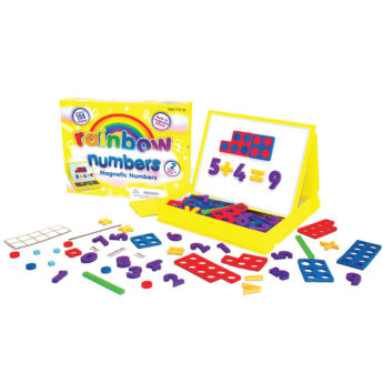 Magnetic foam maths pieces, 155 in total, with an inbuilt board