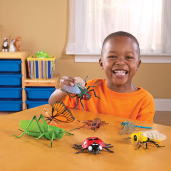Giant insects included: dragonfly, fly, ladybird, butterfly, bee, spider and cricket. (Butterfly is 20cm)