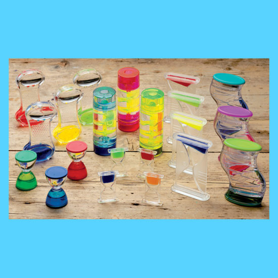 Collection of 21 colourful liquid tubes for sensory play