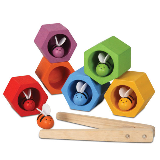 Six colour matching beehives for stacking, matching and coordination