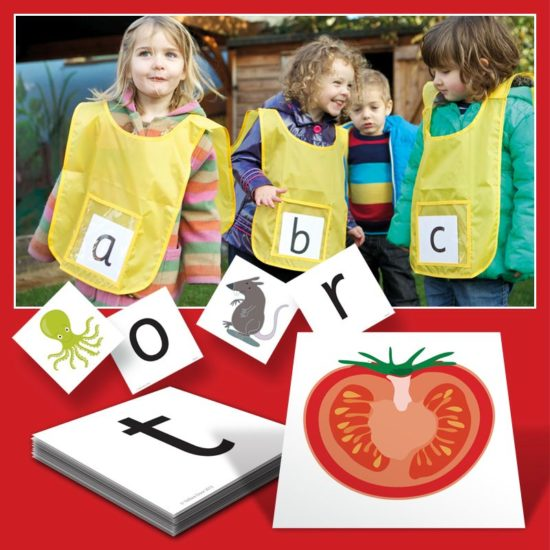 Active Alphabet Kit - Six tabards and letter cards for early years and KS1