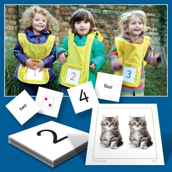 Active Number Kit - Six tabards and numeracy cards for early years and KS1