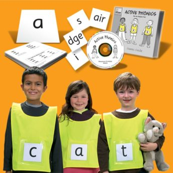 Active Phonics Kit - phonics games, multisensory phonics with six children's tabards