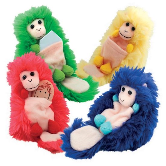 Red, Yellow, Green and Blue Beat Babies with a pouch