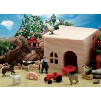 Small world play farm resources with farm buildings, farmer, livestock and feed.