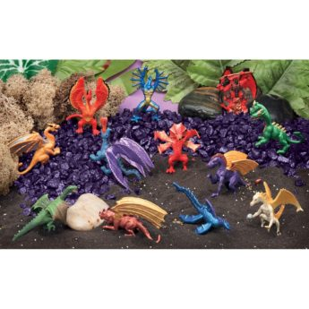 Small world Dragon Scene Kit with 12 dragons and purple gravel.