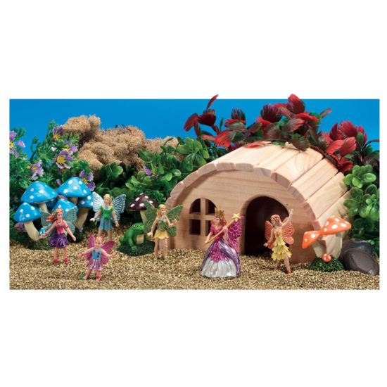 Six fairy figures, wooden house and golden sand for small world play