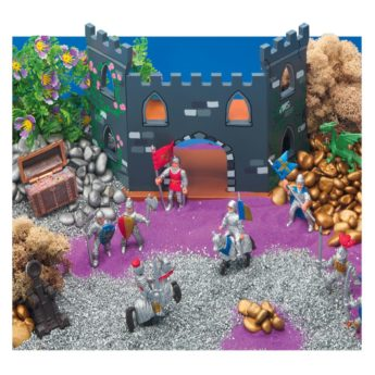 Fantasy Kingdom small world scene with folding wooden castle, 12 knights and dragons, gold and silver treasure.