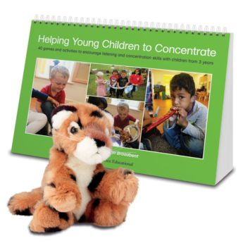 Helping Young Children to Concentrate games book and Lola the soft toy leopard