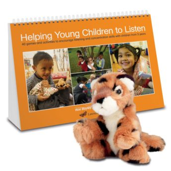 Helping Young Children to Listen games book and Lola the soft toy leopard
