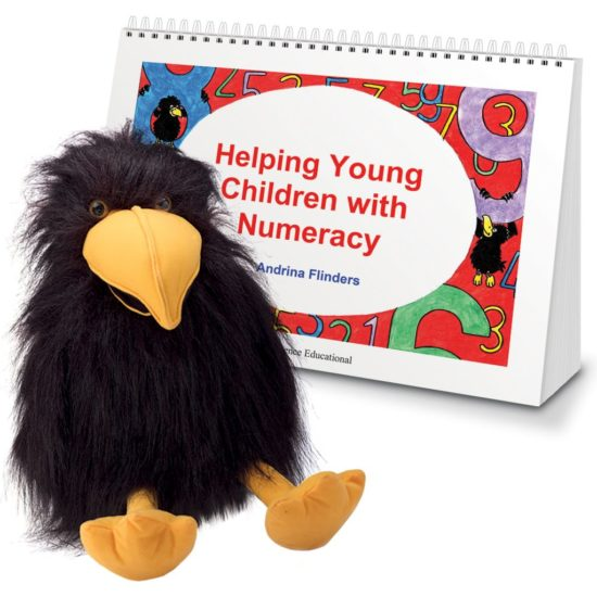 Helping Young Children with Numeracy activity book and Crispin the crow puppet