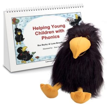 Helping Young Children with Phonics activity book and Crispin the Crow puppet