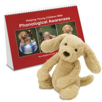 Helping Young Children with Phonological Awareness activity book and Mr Tig Tog the soft toy dog