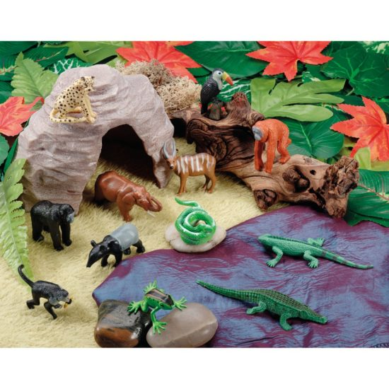 Scene Kit of Jungle animals, rainforest and  cave small world play