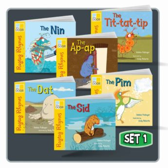 Ragtag Rhymes Set 1 includes single and six class pack of six picture books.