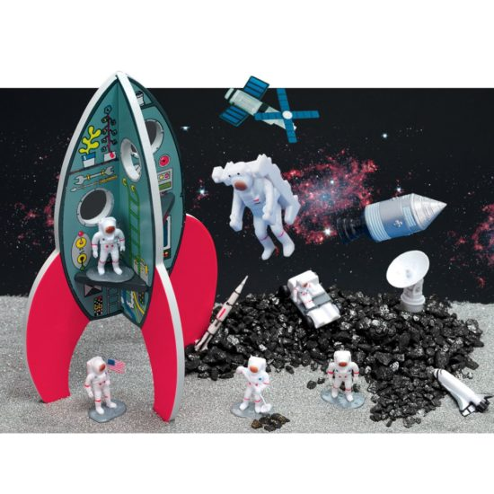 Spectacular space small world play with rockets, astronauts and lunar life