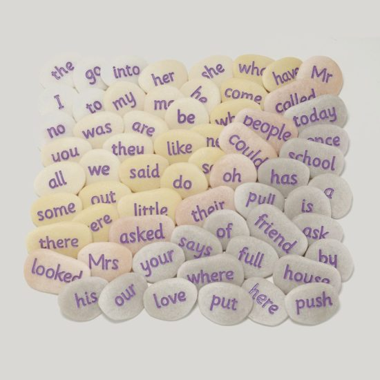 Two jars of tricky words pebbles covering Key Stage 1
