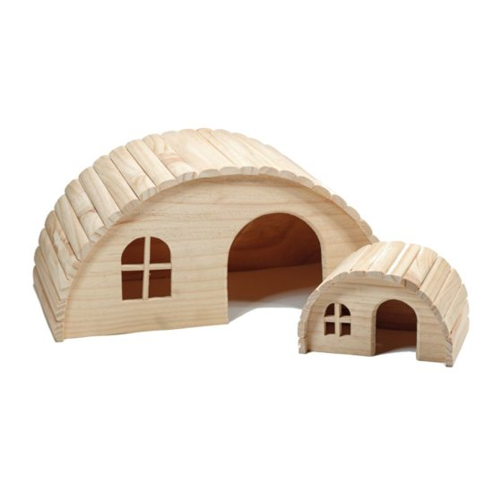Two sizes of wooden fairy houses. 100mm and 200mm height