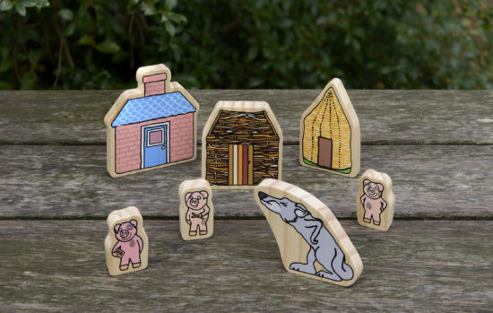 Three Little Pigs Wooden Characters
