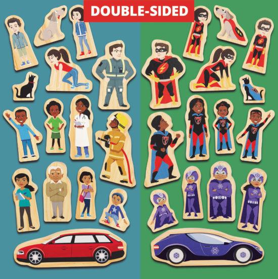 Double-sided FSC wood superhero characters
