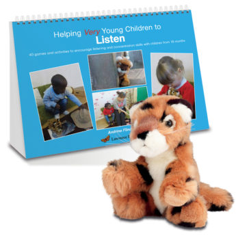 Helping Very Young Children to Listen book and Lola the soft toy leopard.