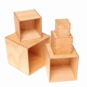 Wooden boxes and bowls for open-ended, heuristic play