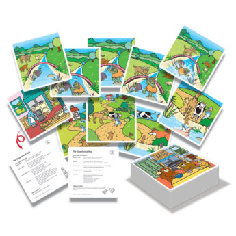 Pack of 30 large-format cards for storytelling activities