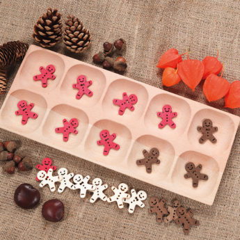 Wooden 10-frame tray with 10 sections