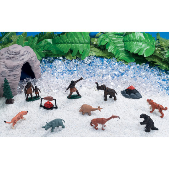 Small world play scene kit with animals, early humans, play cave, ice rocks and snow