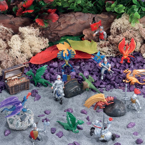 Small world play scene kit with knights, dragons, coloured sand and treasure chest