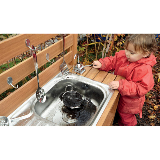 Sturdy mud kitchen with sink and water pump for outside area