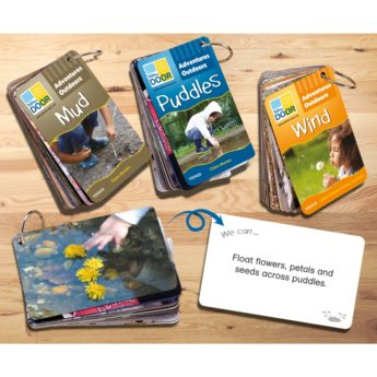 Three portable plastic cards sets with outdoor play ideas for mud, wind and puddles