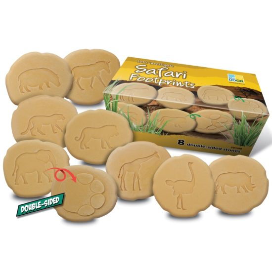 8 double-sided safari footprint stones durable for use in sand and water
