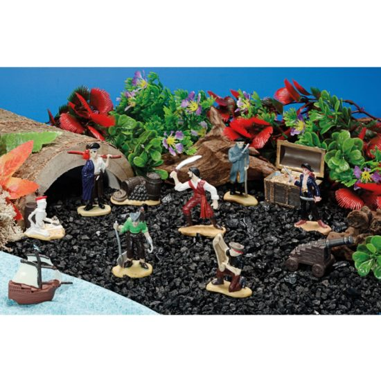 Pirate Island Scene Kit for small world play with pirates, treasure chest, tunnel and black gravel.