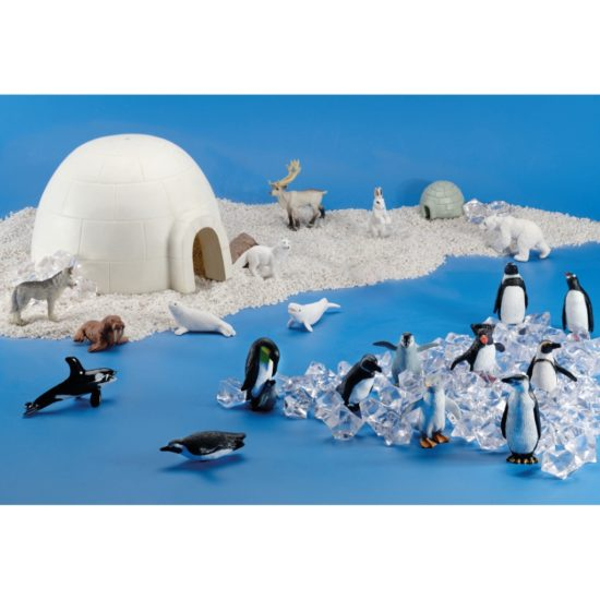 Ice Explorer Scene Kit includes homes and animals for small world play