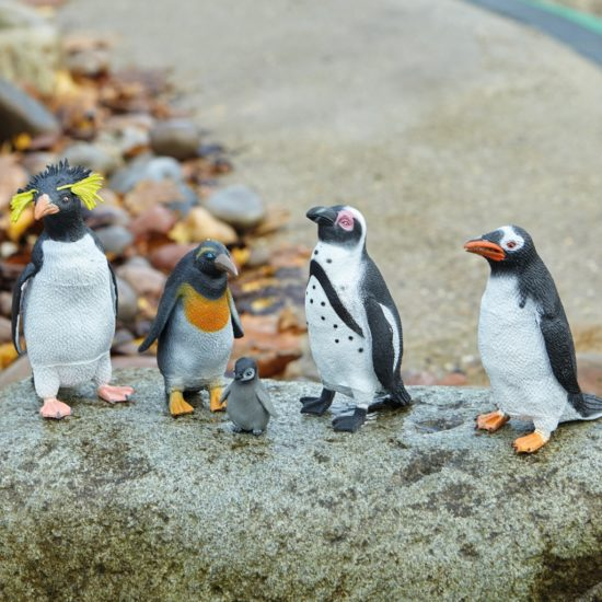 5 fabulous plastic penguin play figures measuring 45-140mm