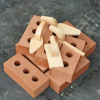 Set of 4 realistic wooden tools to enhance construction role-play areas