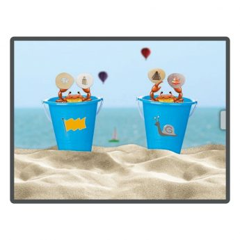 Rhyming word game app. Match the pebble to the bucket on the beach.