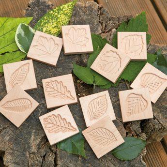 Set of 12 natural wood leaf tiles for matching games
